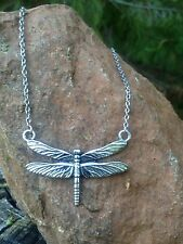 Silver Small Link Chain Necklace With Silver Dragonfly Pendant