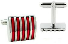 GIFTS FOR MEN Mens 5 Stripe Retro Silver Plated Metal Enamel Cufflinks Red