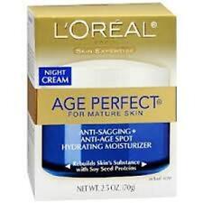 L'Oreal Age Perfect Anti-Sagging & Ultra Hydrating Night Cream - 2.5 oz + Makeup