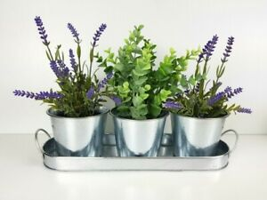 3x Silver Metal Pots With Tray Window Boxes Pot Planters Home Garden Decor