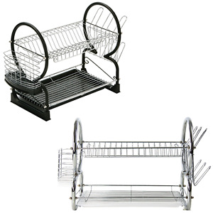 2 TIER CHROME PLATE DISH CUTLERY CUP DRAINER RACK DRIP TRAY PLATES LARGE SIZE