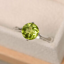 2.00 Carat Natural Peridot Gemstone Engagement Ring 14K White Gold Size M N O P