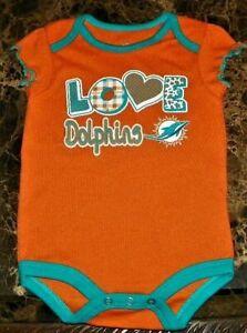 """NEW"" Miami Dolphins ~ Logo INFANT CREEPER BODYSUIT ~ NFL Girl's Sz 3M 6M Orange"