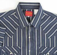 Plains Western Wear Mens Large Blue Gray Striped Pearl Snap Shirt