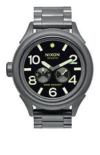 New Nixon October Tide Gun Metal IP Stainless Steel Quartz Mens Watch A4741418