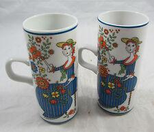 Set of 2 Royal Crown Arnart Smug Mugs Belles By Kitty 33-538 Blue Dressed Woman