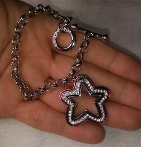 Authentic Swarovski Silver Tone Red Blue Enamel Star Charm Chain Toggle Bracelet
