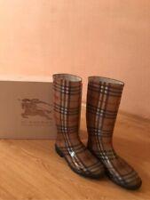 Burberry Haymarket Rain Boots Size 40 Tan Classic Nova check