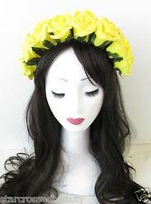 Large Yellow Rose Flower Hair Crown Halloween Sugar Skull Headband Day Dead N27