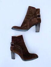 Tods Brown Suede Booties Heels Sz 9.5