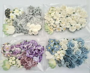 Special 40 Paper Flowers Kit Pack Scrapbook DIY Wedding Home Craft Supply AUG27