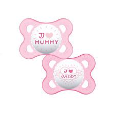 MAM Estilo I Love Mummy /& Daddy chupete Dummy-Azul-recién nacidos 0 meses 2pk