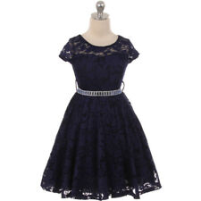 BLUE Flower Girl Dress Prom Birthday Dance Party Bridesmaid Recital Formal Gown
