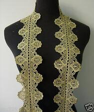 "TL129 3 2/8"" Leaf Tree Metallic Trim Lace Edge Gold Sewing 1Yard"