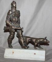 VINTAGE SOVIET RUSSIAN BRONZE ART WORK STATUETTE SOLDIER AND DOG