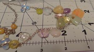 Vintage Necklace with Green Jade Lock, Moonstones, Swarovski Crystals, Jade Donu