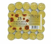 25 Tea light candles CITRONELLA Garden TEA LIGHTS Mosquito Fly Insect Repellent