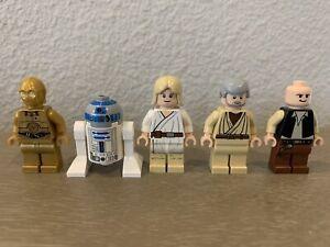 Lego Star Wars Lot of 5 OT Rebel Minifigures: Luke R2-D2 C-3PO Obi-Wan Han Solo