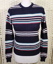 Atmosphere Navy Striped Jumper 10 12 S Blue Knit Sweater Primark Top Retro 90s