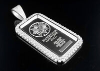 .925 Sterling Silver Lab Diamonds Sunshine White Gold Finish Bar Pendant 2.0 In