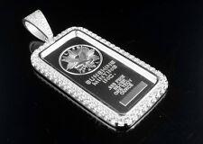 .925 Sterling Silver Lab Diamonds Sunshine White Gold Finish Bar Pendant 2.0 In