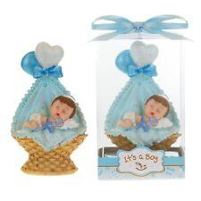 Mega Favors - Baby Boy Sleeping inside Basket Poly Resin - Blue, 12PCS