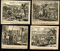Battle Fields Soldiers Military c.1700's lot x 12 old engraved prints