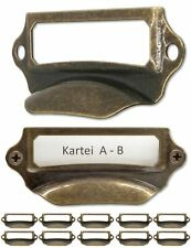 FUXXER® - 10 x label windows, metal handles in antique brass look, slots for ...