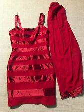 Lillie Rubin Women's Red Sleeveless Bodycon Dress With Scarf Sz 6 #K5
