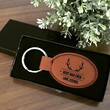 Personalised Engraved Leather Rectangle Keychain - Key Chain - Key Ring