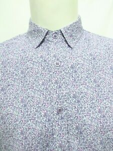 English Laundry Purple Scroll Floral Pattern Long Sleeve Shirt Mens Size Medium