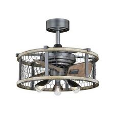 """21"""" Natural Iron Distressed Faux Wood Fandelier Metal Mesh Cage Shade Led Lamp"""