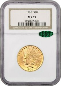 1926 $10 NGC/CAC MS63 - Lovely Type Coin - Indian Eagle - Gold Coin