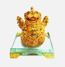 Gold Plated Oriental Feng Shui Pi Yau Ornament - Good Luck, Wealth & Prosperity
