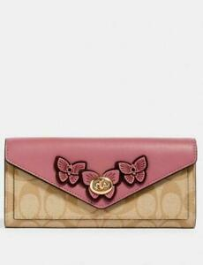 NWT COACH 3126 Slim Envelope Wallet In Signature Canvas Butterfly Applique