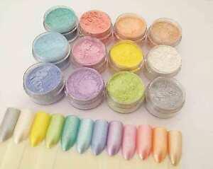"""Milkshakes"" 12 Nail Additives Mica Pigment Powders Set for UV Gel, Acrylics +"