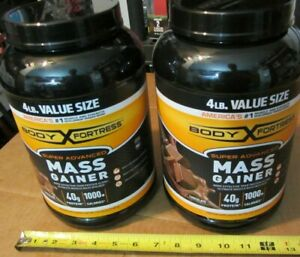 (2) Body Fortress 4 lb. cans Mass Gainer 40g Protein powder Chocolate = 8 lbs!!