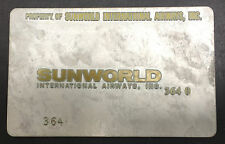 Vintage SunWorld Metal Ticket Validation Plate Travel Agent, Airline Collectible