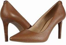 Michael Kors Dorothy Flex Pumps Size 9.5 Luggage Brown Leather Dress Heel Shoes