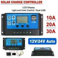 Solar Ladegerät PWM Controller Panel Daul USB LCD Batterie Regler Auto 12V-24V