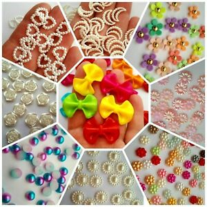 50x Acrylic Pearls Flowers Hearts Stars Cabochons Decorations Nail Art Mix ABS