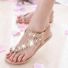 New Women Bohemia Floral Flat Shoes Beach Sandals Thongs Slippers Flip Flops JJ