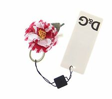 Nuovo Dolce & Gabbana D&g Rosso a Scacchi Fiore Cotone Fermaglio Accessorio