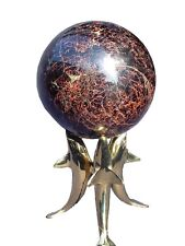 "BUTW  Crystal Healing Garnet Sphere 5.6"" Diam with Brass Dolphin Stand 3765K ab"