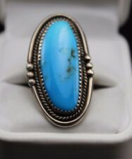 """Native American Sterling Silver Large 1-1/2"""" Turquoise Ring Size 5 Needs Repair"""