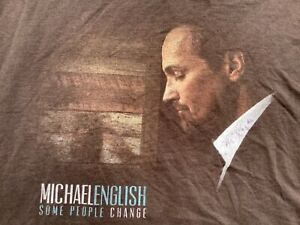 MICHAEL ENGLISH concert brown 2 sided T-Shirt sz L large GAITHER VOCAL BAND