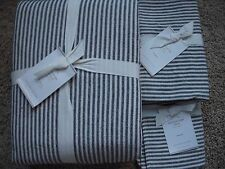 POTTERY BARN Wheaton Stripe FULL/QUEEN Duvet & 2 EURO Shams NEW - Navy