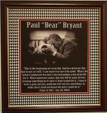 "ALABAMA football Paul ""Bear"" Bryant framed poem -  A New Day"