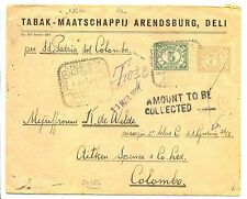 NED INDIE S.M.N.1927-3-4 -S.S.GROTIUS= AAN PASSAGIER- POSTAGE DUE -COLOMBO F/VF