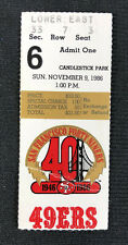 San Francisco 49ers Ticket Stub Nov. 9, 1986 Jerry Rice 2nd 3 TD Game Cardinals